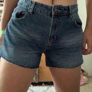 Mid rise cotton on denim shorts